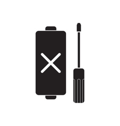 Flat icon in black and white mobile battery vector