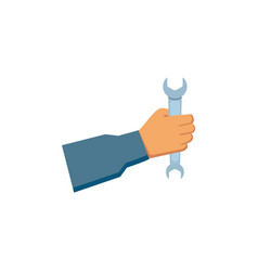 Flat man hand holding wrench vector