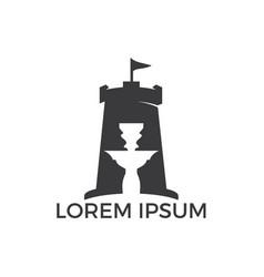 Fort and hookah logo design vector