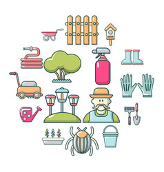 gardener icons set cartoon style vector image