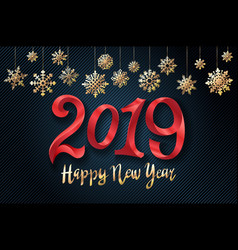 gold 2019 happy new year background for your vector image