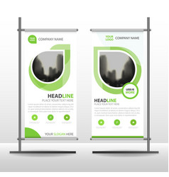 Green abstract business roll up banner flat design vector