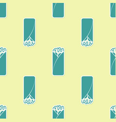Green burrito icon isolated seamless pattern on vector