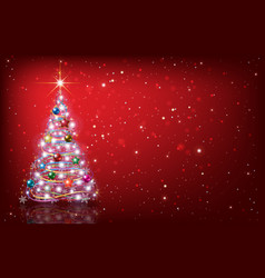 Greeting with christmas tree on red background vector