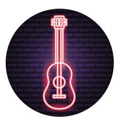 Guitar instrument neon brick wall vector