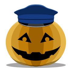 Halloween pumpkin with a police hat vector