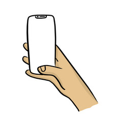 hand holding mobile phone with notch display vector image