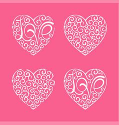 heart set curl love lettering design element vector image