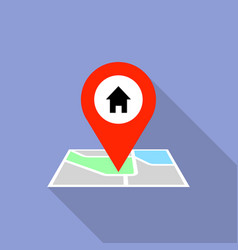 house map pin icon flat style vector image