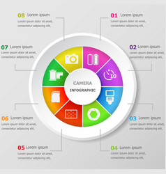 infographic design template with camera icons vector image