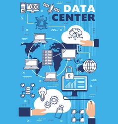 Information data center internet cloud technology vector