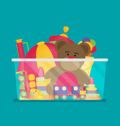 kids toy box full of toys modern flat style vector image