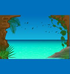 Landscape cave in sea vector