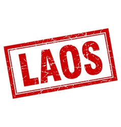 Laos red square grunge stamp on white vector