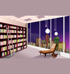 Library bookshelves interior vector