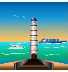 lighthouse by the sea cargo ship motor yacht vector image