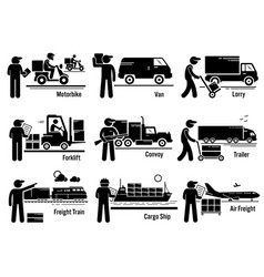 logistic transportation vehicles set set vector image