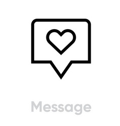 love chat message icon editable line vector image