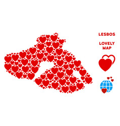 Love greek lesbos island map composition of vector