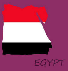 Map egypt with an official flag on white vector