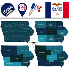 Map of iowa with regions vector