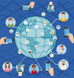 Marketing technology concept global cartoon style vector