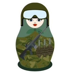 Matryoshka with rifle M-16 vector