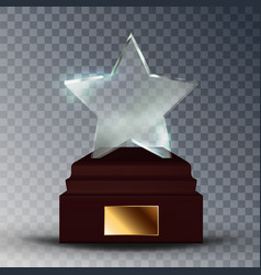 modern glass trophy award in star form vector image