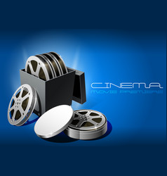 movie premiere film reel in open round metal box vector image