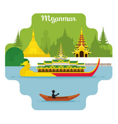 myanmar travel and attraction landmarks vector image