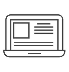 Online news on laptop screen linear icon vector