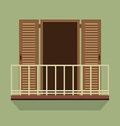 Open door with balcony vintage style vector