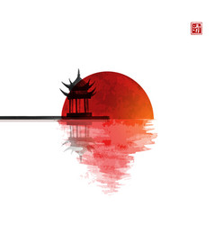 Pagoda temple and big red sun reflecting in water vector