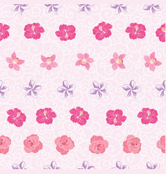 pink tropical flowers stripes repeat pattern print vector image