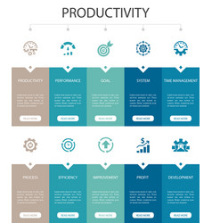 Productivity infographic 10 steps ui design vector