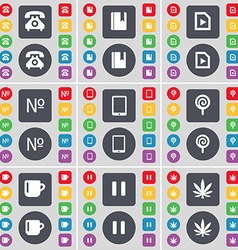 Retro phone Dictionary Media file Number Tablet PC vector