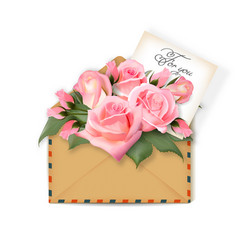 roses with a note in an envelope template vector image