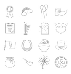 Saint Patrick icons set outline style vector