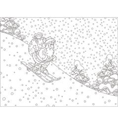 Santa skiing with gifts vector