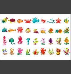 Sea creature big set colorful cartoon ocean vector
