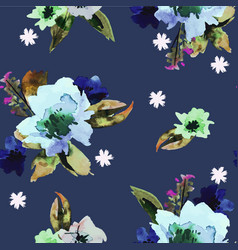 seamless pattern with watercolor flowers trendy vector image