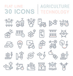 set line icons agriculture technology vector image