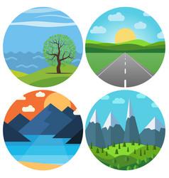 set of four different cartoon landscape vector image