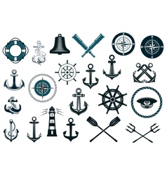Set of nautical icons vector image