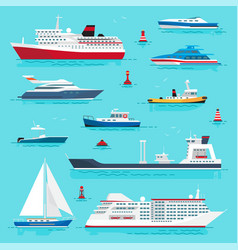 Set of sea transport on blue water flat design vector