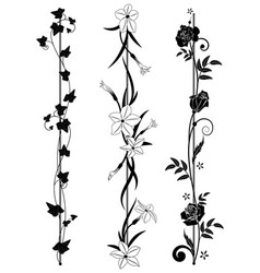 set of vertical floral dividers vector image