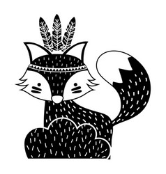 silhouette ethnic fox animal in back of bushes vector image