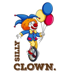 Silly clown with balloon vector