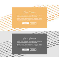 silver and gold chains web pages with push buttons vector image