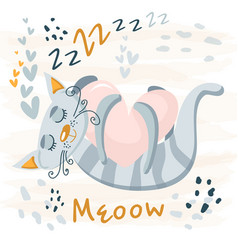 Sleeping grey cute cat baanimal nursery vector